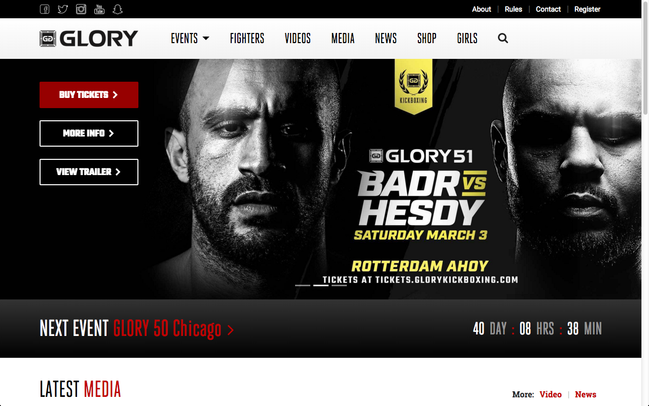 Where to bet on glory kickboxing