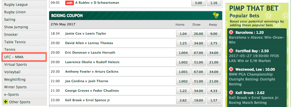 Betting on MMA sites Paddy Power 2