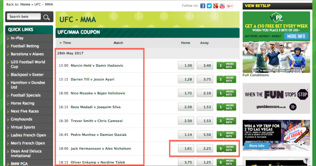 Betting on MMA sites Paddy Power